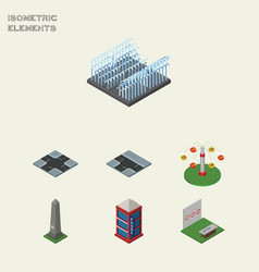 Isometric city set of dc memorial aiming game vector