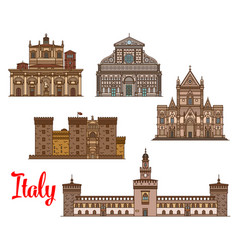 Italian architecture travel landmarks icon set vector