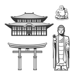 Japanese religion and japan traditions icons vector