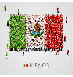 Large group of people in the shape of mexican flag vector