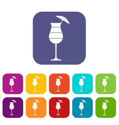 Layered cocktail with umbrella icons set vector