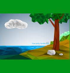 Low poly landscape scene vector