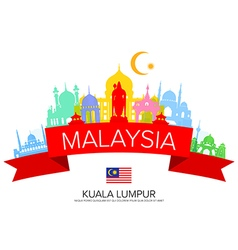 Malaysia Travel Landmarks and Flag vector image