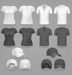 male and female black white t-shirt and baseball vector image