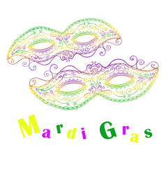 Mardi gras decorative celebratory two masks vector
