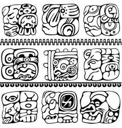 Mayan glyphs set vector