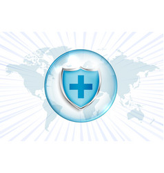 Medical protection shield with cross sign and vector