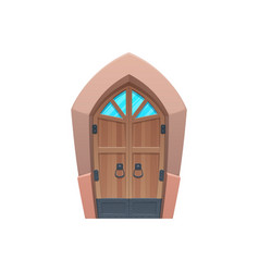 medieval gate glass window isolated door entry vector image