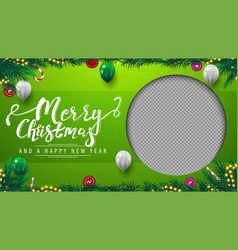 merry christmas and happy new year green template vector image