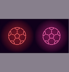 neon football ball in red and pink color vector image