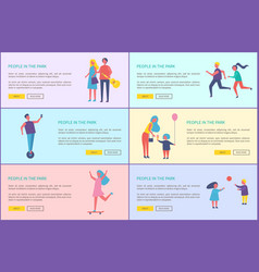 People in park set of posters vector