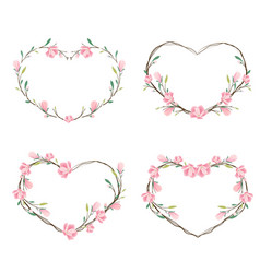 pink magnolia heart wreath frame for valentine vector image