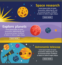 Planets research banner horizontal set flat style vector