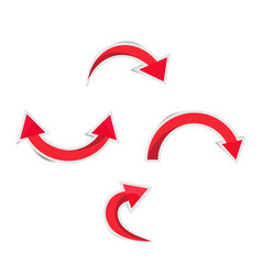 red curved arrow with shadows vector image