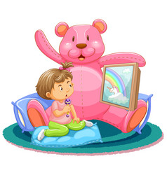 scene with kids watching tv with teddy bear vector image