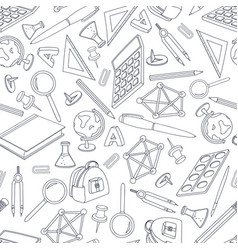 school doodle seamless pattern set of office vector image
