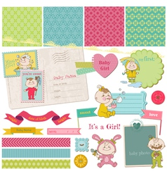 Scrapbook Design Elements - Baby Girl Shower Set vector image