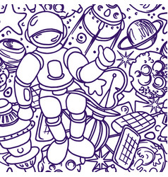 Seamless pattern space doodle futuristic vector