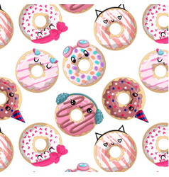 Seamless pattern with cute cartoon donuts vector