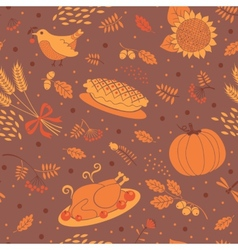 Seamless pattern with pumpkins leaves wheat vector