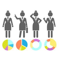 set black and white avatars businesswomen vector image