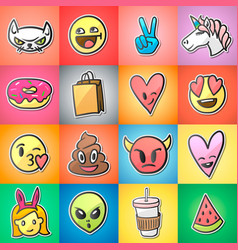 set colorful emoticons emoji stickers vector image