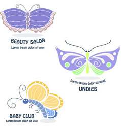 Set of Butterfly logos vector image