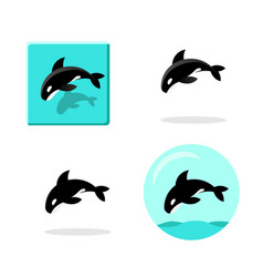 set of killer whale icons in flat style art vector image