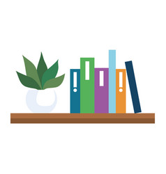 Shelving with books and pot plant on white vector