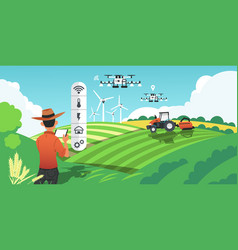 Smart farming growing crops and harvesting plants vector