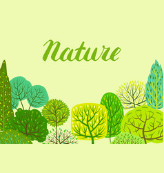 spring or summer background with stylized trees vector image