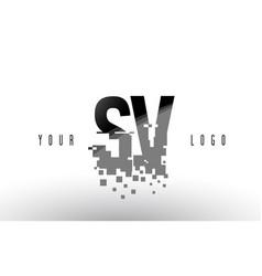 Sv s v pixel letter logo with digital shattered vector