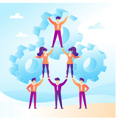 Teamwork concept with business people forming a vector