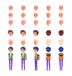 Teenager emotions and hairstyles icons set vector