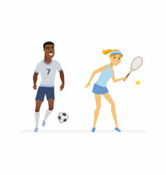 tennis and football players - cartoon people vector image