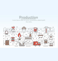 thin line art production poster banner vector image