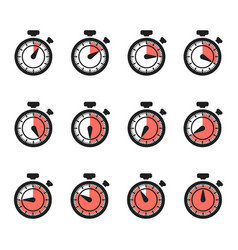 timer icons stopwatch set isolated on vector image