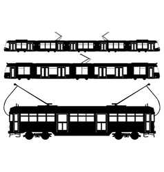 Tram silhouettes vector