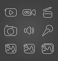 Video and multimedia set icons draw effect vector image