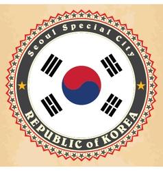 Vintage label cards of South Korea flag vector image