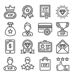 vip icons set on white background line style vector image