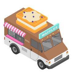Waffles truck icon isometric style vector