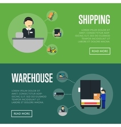 Warehouse logistics and shipping banners set vector