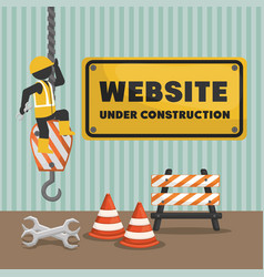 website under construction banner vector image