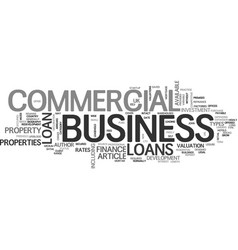 what is a commercial business loan text word vector image