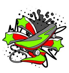 With cartoon skateboard vector