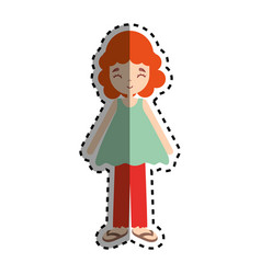 woman with hairstyle and casual cloth icon vector image