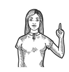 woman with index finger up sketch engraving vector image