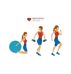 Young adult exercising in fitness gym vector image