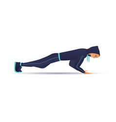 young sportsman doing push-up vector image